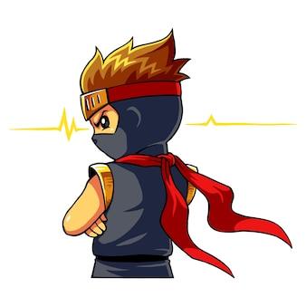 Ninja boy alert instinct mode.