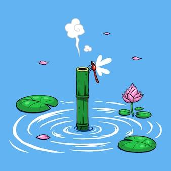 Ninja boy escondendo na água com vara de bambu para respirar.
