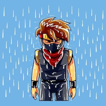 Ninja boy tristeza em lágrimas.
