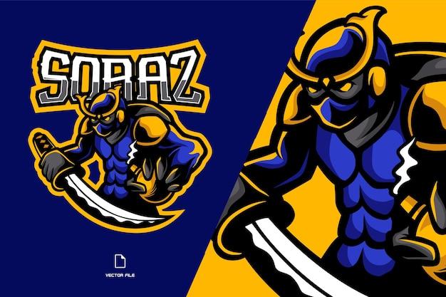 Ninja com mascote de espada katana esport para logotipo do jogo
