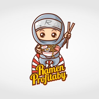 Ninja comendo ramen mascote personagem