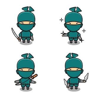 Ninja fofo lutando com conjunto de espada