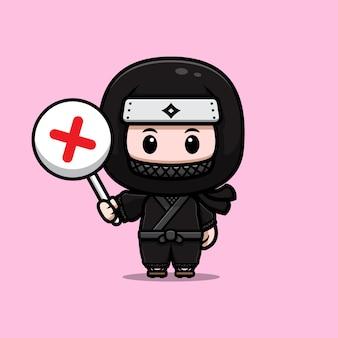 Ninja fofo segurando a ilustração do ícone do mascote com placa errada