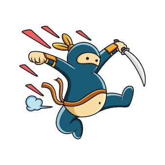 Ninja gordo de desenho animado pulando com uma expressão engraçada