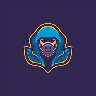 Ninja mask head cartoon logo template ilustração esport logo gaming premium vector