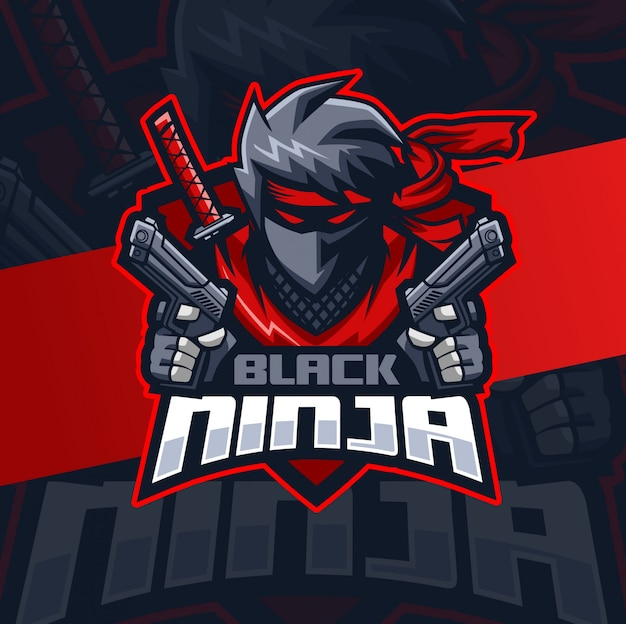 Ninja preto com design de logotipo esport mascote de arma