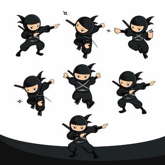 Ninja preto dos desenhos animados usando dardo como pacote de ação de arma