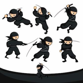 Ninja preto dos desenhos animados usar espada como ação de conjunto de armas se move