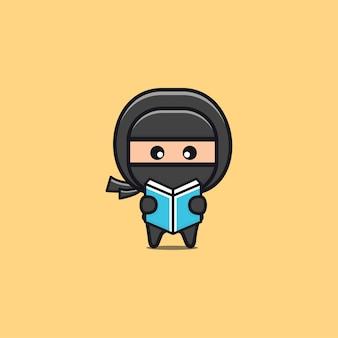 Ninja preto fofo lendo ilustração de livro