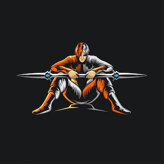 Ninja samurai logo ilustration
