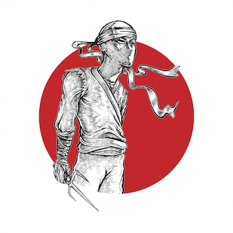Ninja segurando arma ilustração