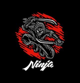 Ninja segurando duas espadas na sombra com ilustração de lua vermelha