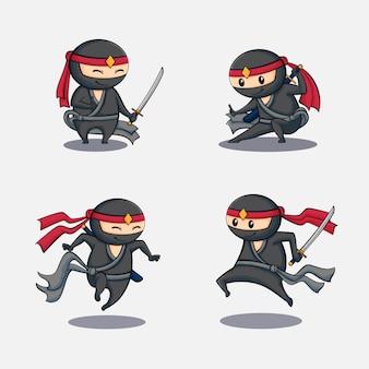 Ninjas fofos com diferentes poses