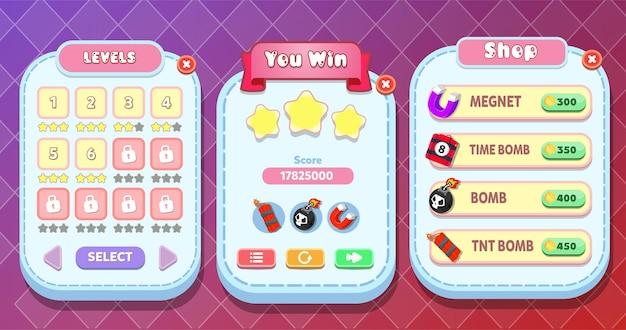 Nível completo, loja e menu de seleção de níveis pop-up com botões