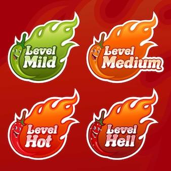 Nível de chili peppers vetorial, com quatro opções picantes alternativas