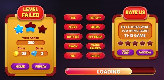 Nível de falha e taxa eua menu pop up tela com estrelas e botão