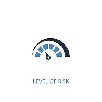 Nível de risco conceito 2 ícone colorido. ilustração do elemento azul simples. projeto de símbolo de conceito de nível de risco. pode ser usado para ui / ux da web e móvel