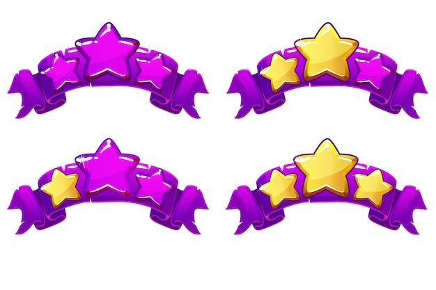 Nível de vetor completo banners de classificação com estrelas na fita violeta