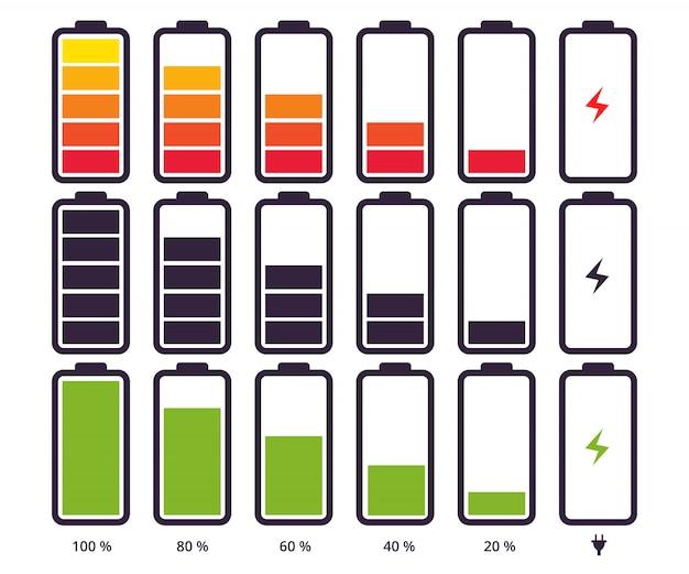 Nível diferente de carga do símbolo indicador da bateria