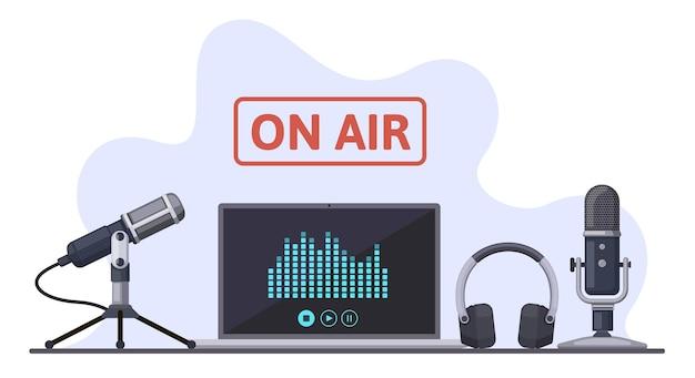 No ar. podcast, transmissão de rádio ou fluxos de áudio, gravação de som com microfone e fones de ouvido