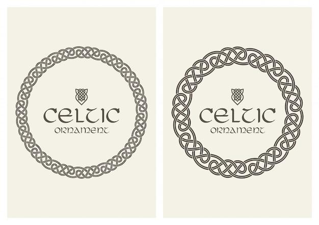 Nó celta ornamento de borda de quadro trançado tamanho a4