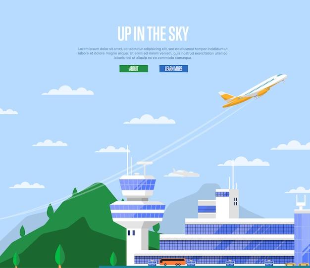 No conceito de céu com decolagem de avião