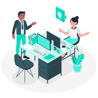 No conceito de ilustração de escritório