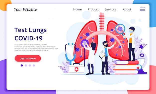 No conceito de pneumologia, os médicos verificam os pulmões humanos em busca de infecções pelo coronavírus covid-19. modelo de design de página de destino do site