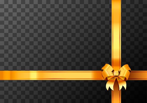 Nó de arco dourado e fita em fundo transparente