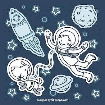 No espaço exterior com um cachorro
