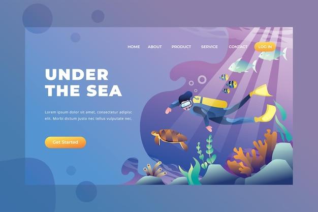 No fundo do mar - página de destino do vetor