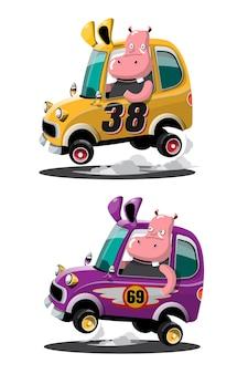 No jogo de corrida de velocidade, o jogador do hipopótamo do piloto usou o carro de alta velocidade para ganhar no jogo de corrida