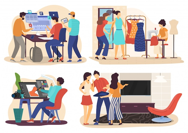 No trabalho, personagens de desenhos animados de pessoas, desenvolvedor web, gráfico, moda e design de interiores, ilustração