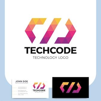 Ñoding logotipo de uma forma de triângulo estilizado construído com polígonos coloridos