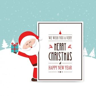 Noel feliz de santa que prende um presente