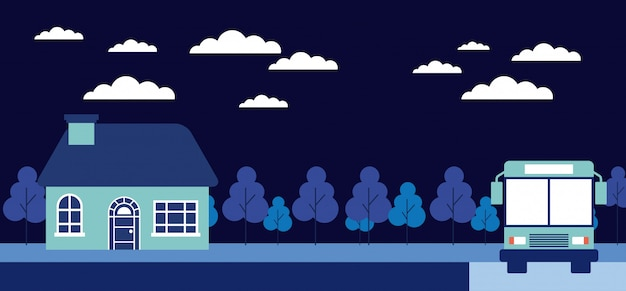 Noite árvores casa parada ônibus
