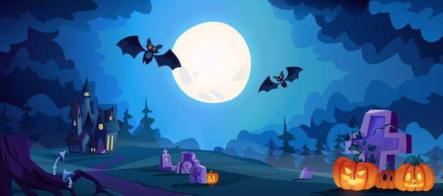 Noite assustadora de halloween com lua cheia brilhando morcegos voadores e abóboras iluminadas no cemitério