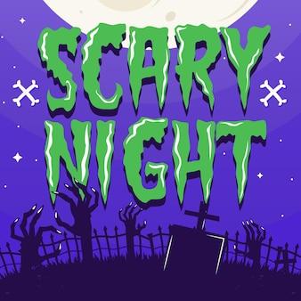 Noite assustadora - design de letras