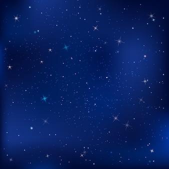 Noite azul escura com ilustração de estrelas