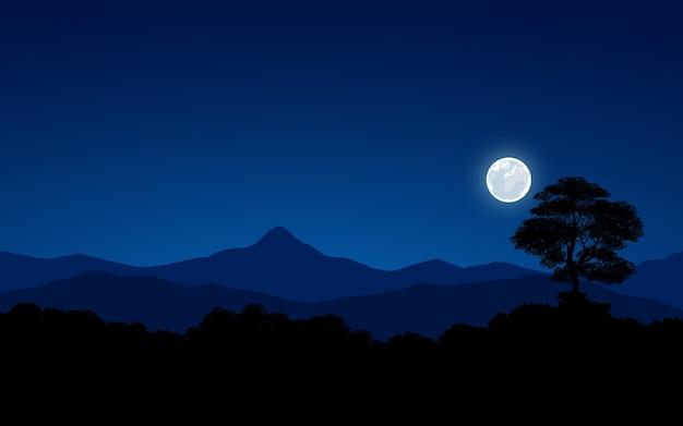 Noite azul na floresta com luar