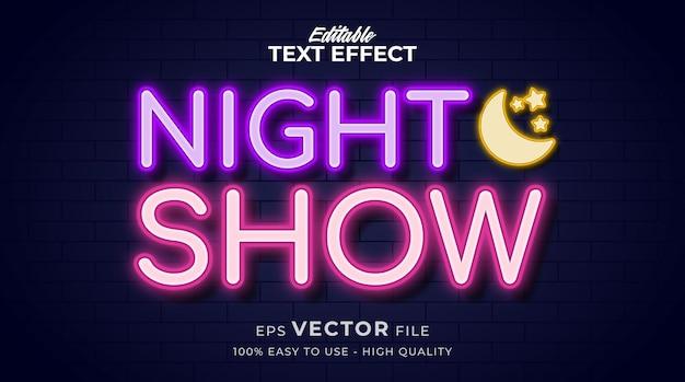 Noite brilhante com luz de néon, efeito de texto de estilo gráfico editável