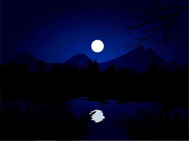 Noite calma na floresta com lua cheia