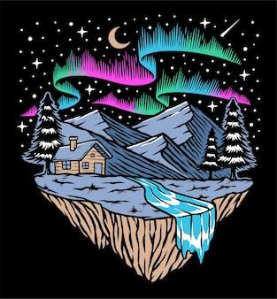 Noite cheia de estrelas e ilustração da aurora