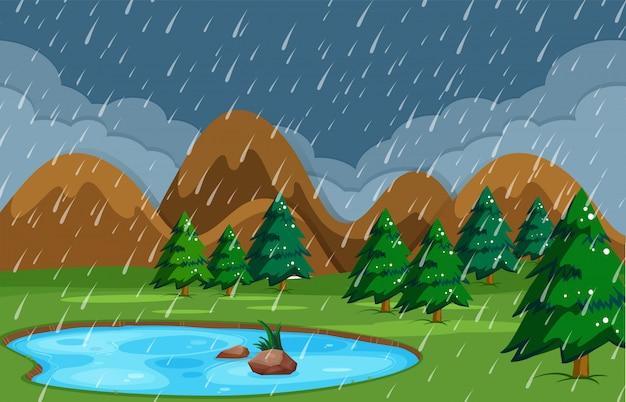 Noite chuvosa na natureza da lagoa