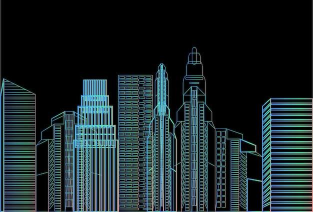 Noite cidade arranha-céu vista natureza poluição