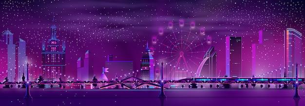 Noite cidade inverno paisagem de fundo vector