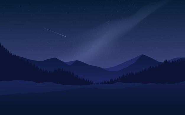 Noite com montanha e noite estrelada