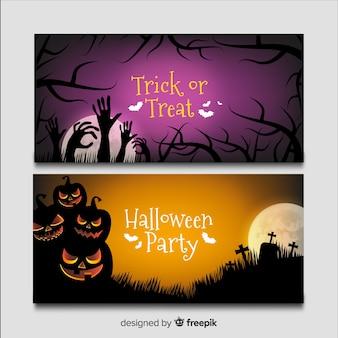Noite de banners de halloween realista no cemitério