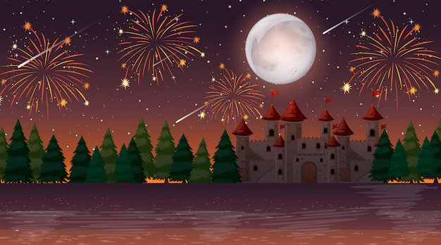 Noite de celebração sobre o castelo
