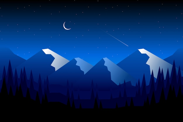 Noite de céu azul com montanha e silhueta paisagem de floresta de pinheiros